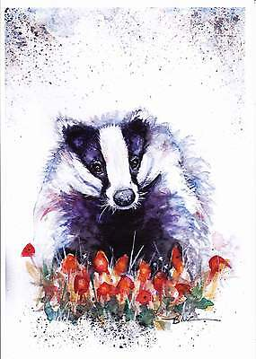 NEW A4 PRINT of an Original Watercolour Painting by Be Coventry, Badger no.1