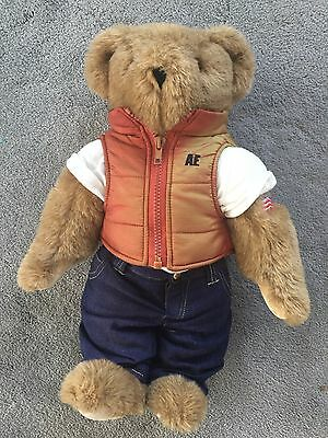 Vermont Teddy Bear. 18 Inches. Jacket, White T-Shirt, and Jeans.
