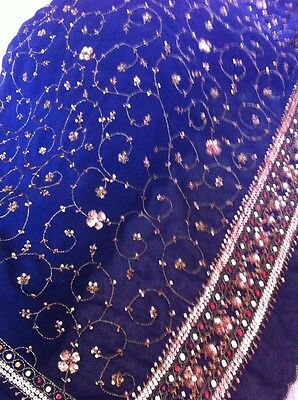 Dark Blue With Copper & Red Sequins - Size 8 Blouse