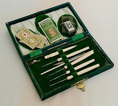 Antique Sewing Case Set Kit Etui Woodfield Needles Bovine Tools Penelope