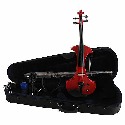 ELECTRIC Violin 4/4 RED +FOAMED CASE+BOW+HEADPHONE VE501 RED