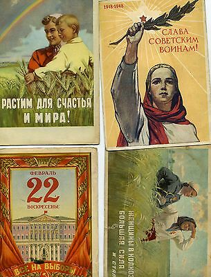 Collection Of Four Ussr Vintage Propaganda Postcards
