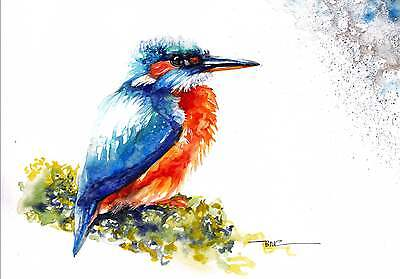 A4 PRINT of an Original Watercolour Painting by Be Coventry,Realism,Kingfisher