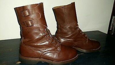 Vintage Retro Leather Army Boots Brown