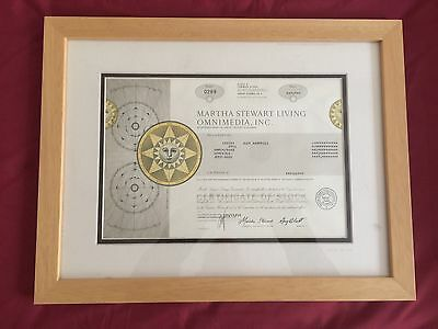 MARTHA STEWART  LIVING OMNIMEDIA INC stock certificate Framed And Matted
