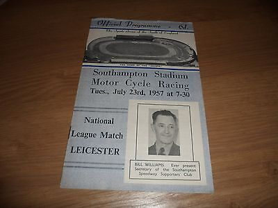 Southampton v Leicester Speedway Programme 1957