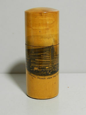 Very fine example of a Treen Mauchline Ware needle case with Crystal Palace