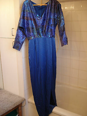 Royal blue gown, dinner-dance slit skirt, batwing sleeve, tall Lady sz US12 CD16