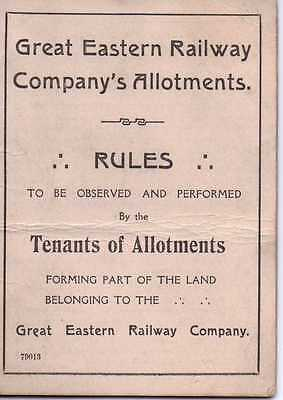 Great Eastern Railway Company's Allotments Rules Folded Card