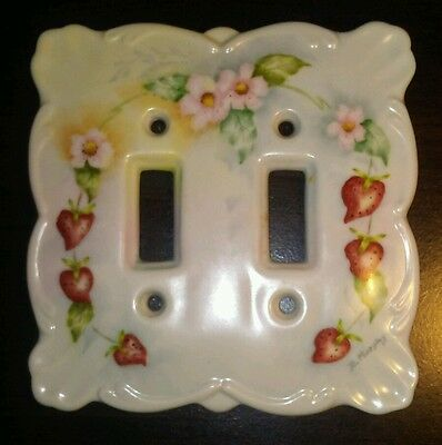 Vintage Ceramic Double Light Switch Plate Cover Hand Painted Strawberries pink