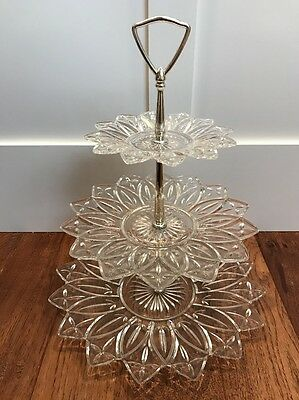 Vintage Mid-Century Cut Glass Three Tier Buffet Dessert Cake Stand USA Edibles