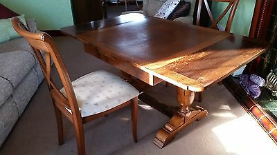Antique beautiful polished oak drawer leaf 1930's dining table & 4 chairs