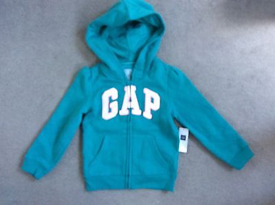GAP TURQUOISE HOODIE WITH GLITTER GAP LOGO IN WHITE WITH PINK EDGING-AGE 4y BNWT