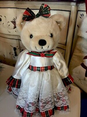 Christmas Holiday Bear Plush With Stand Girl Bear Pretty Dress Holiday DECOR 15""