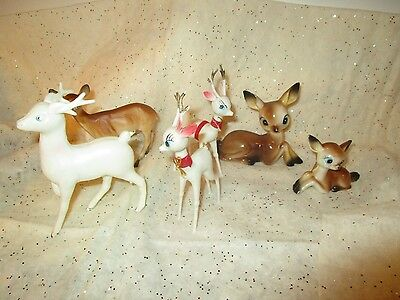 Vintage Lot Of Plastic Christmas Reindeer Ornaments Figures Fawn