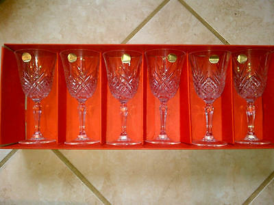 6 Cristal d'Arques Masquerade 9 1/2 oz 24% Lead Crystal Wine glasses unused