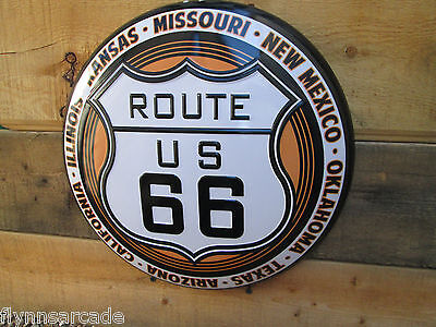 Route Us 66 Vintage Bright Shiny Look Metal Button Sign Harley Indian Man Cave