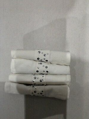 Next Set Of 4 Napkins White With Silver Studs Bnwob