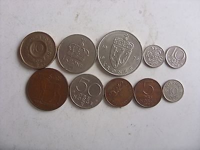Lot Of 10 Norway Coins 5 Ore-10 Kron 1954-1998