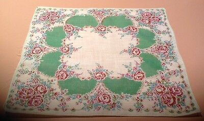 "Vintage Ladies Hanky Purple Roses and Green Geometric Design 12"" X 12"" Pristine"