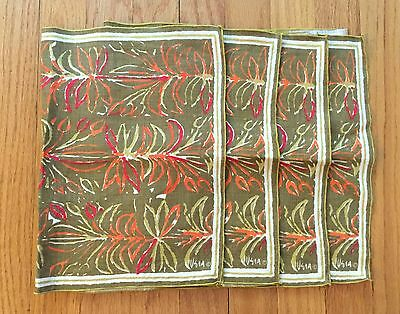 VERA NEUMANN Lot Set 4 Unused Green Floral Placemats Napkins Rare