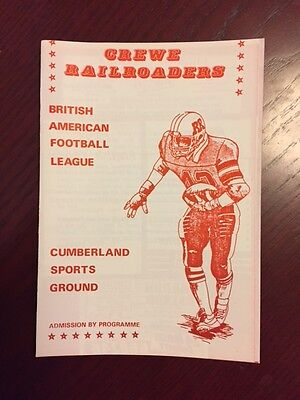 Crewe Railroaders v Manchester Spartons 1986 American Football Programme 8 pages