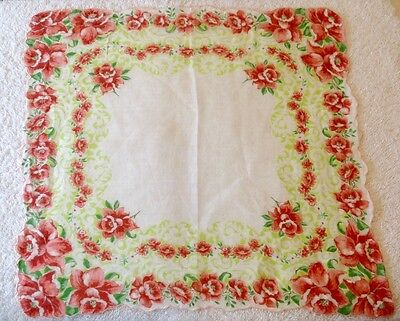 Vintage Ladies Hanky with Red Daffodils in Each Scalloped Corner Ring in Ring��