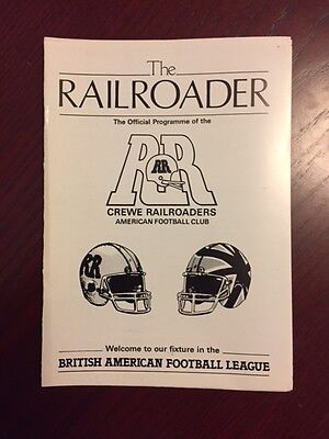 Crewe Railroaders v Leigh Razorbacks 1986 American Football Programmes 8 pages