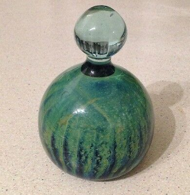 Mdina Glass Paperweight Green and Blue