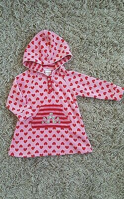 BLUEZOO Baby Girl Hooded Velour Tunic Top Age 3-6 Months