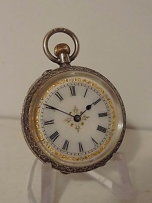 Solid Silver .935 Ladies Ornate Enamel Fob Pocket Watch Excellent Working Order