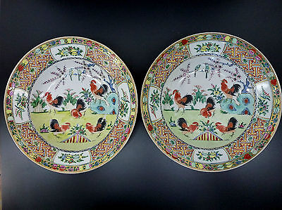 2 China Teller Porzellan chinese Porcelain famille rose Canton rooster 19/20th
