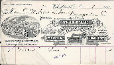 1893 Cleveland OH White Sewing Machine Co Billhead