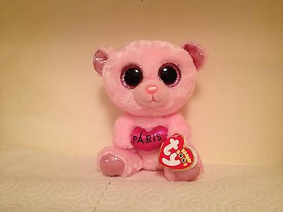 "Retired **Paris** ~2015 Ty Beanie Boo~ 6"" Pink Bear ~French Exclusive~MWMT! Wow!"