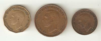 3 x 1942 George VI Coins - Three Penny, One Half Penny & One Farthing