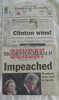 Newspaper Headlines Clinton Impeached 12/20/1998 & Clinton Wins 11/06/1996