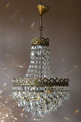 Home Living Brass Lustre Antique French Vintage Crystal Chandelier Lamp Lighting