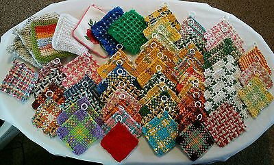 Handmade Lot 53 Cotton Potholders Made With Loom Crochet Some Stitched NICE L@@K