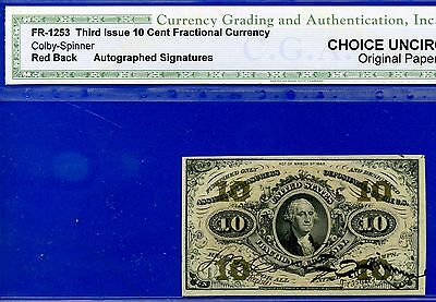 FR1253 Third Issue 10 Cent ** Choice-UNC ** FRACTIONAL** Hand Signed