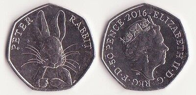 """GREAT BRITAIN, 50 Pence Coin 2016 UNC-, """"Peter Rabbit"""" by Beatrix Potter"""