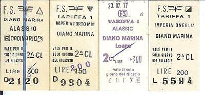 Ferrovie Italiane  FS Italian Railways 4x Edmondson tickets 1977 Diano Marina