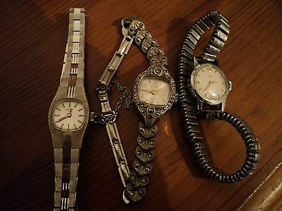 3 X Ladies Old Watches * 1 X Avia 1 X Buren 1 X Rotary * Appear To Be Ticking!