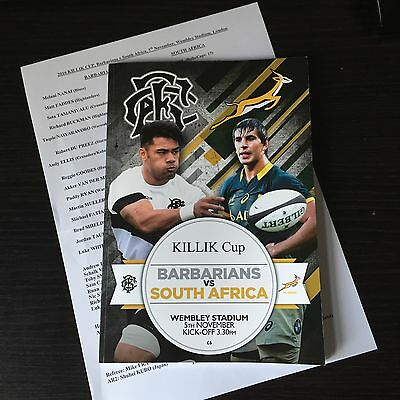 Barbarians v South Africa Rugby Program 5th November 2016 Wembley Stadium