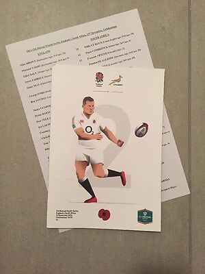 England V South Africa Rugby Programme 12th November 2016 Autumn Internationals