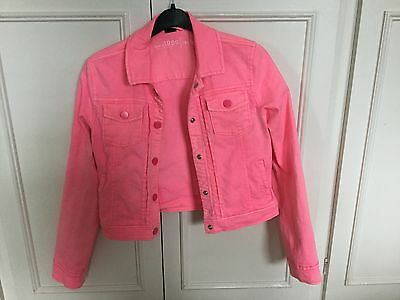 Girls Gap Bright Pink Neon Denim Jacket Size 10-12years Or 155cm