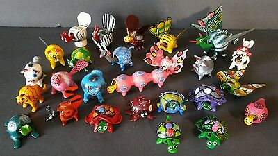Mexican BobbleHead Folk Art Wood Hand Painted Carved Animals Dragon Turtle +