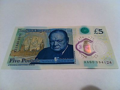 Five Pound £5 Bank Of England New Polymer Note AA60 094124