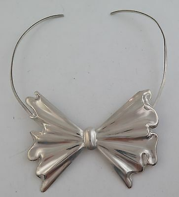 Unique Solid Sterling Silver Bow Tie Choker Pendant or Brooch