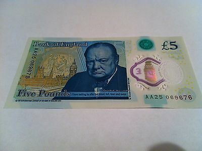 Five Pound £5 Bank Of England New Polymer Note AA25 069676