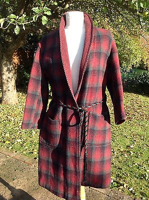 Mens Vintage Wool Dressing Gown/smoking Jacket  With Cord Trim